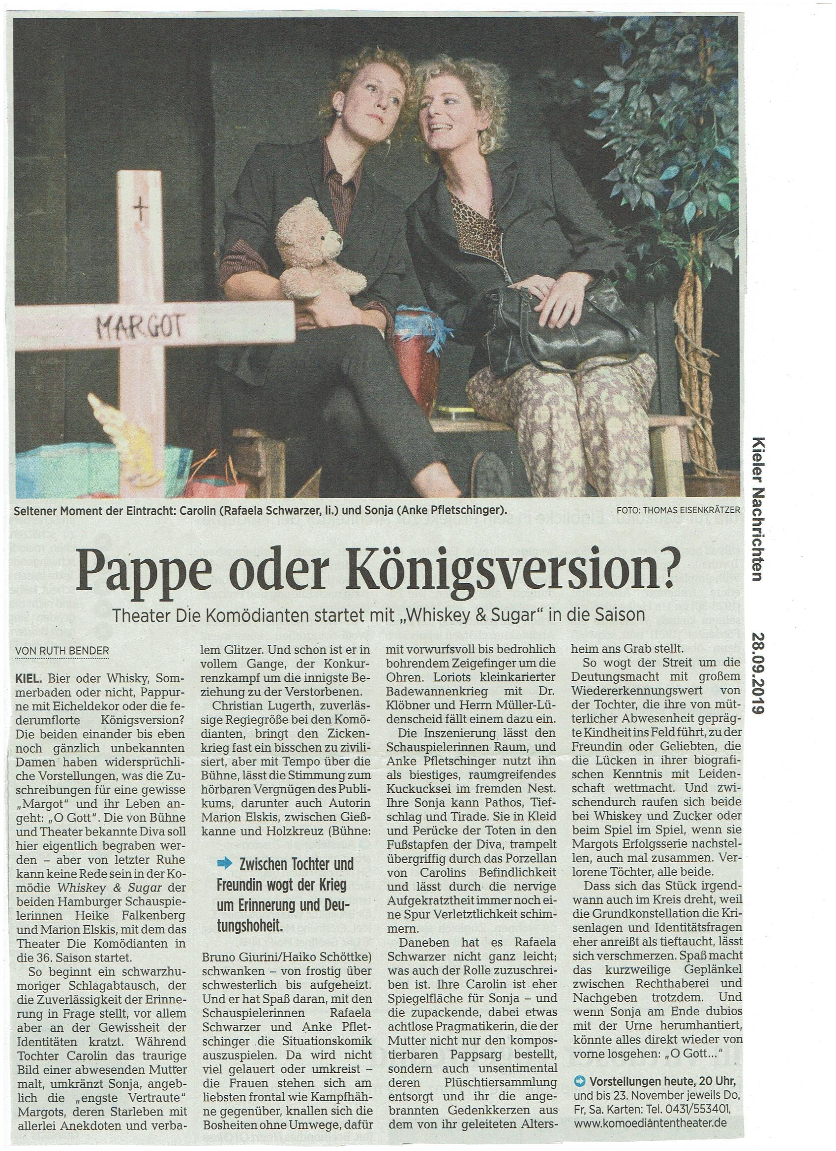 Kritik der Kieler Nachrichten vom 28.09.2019